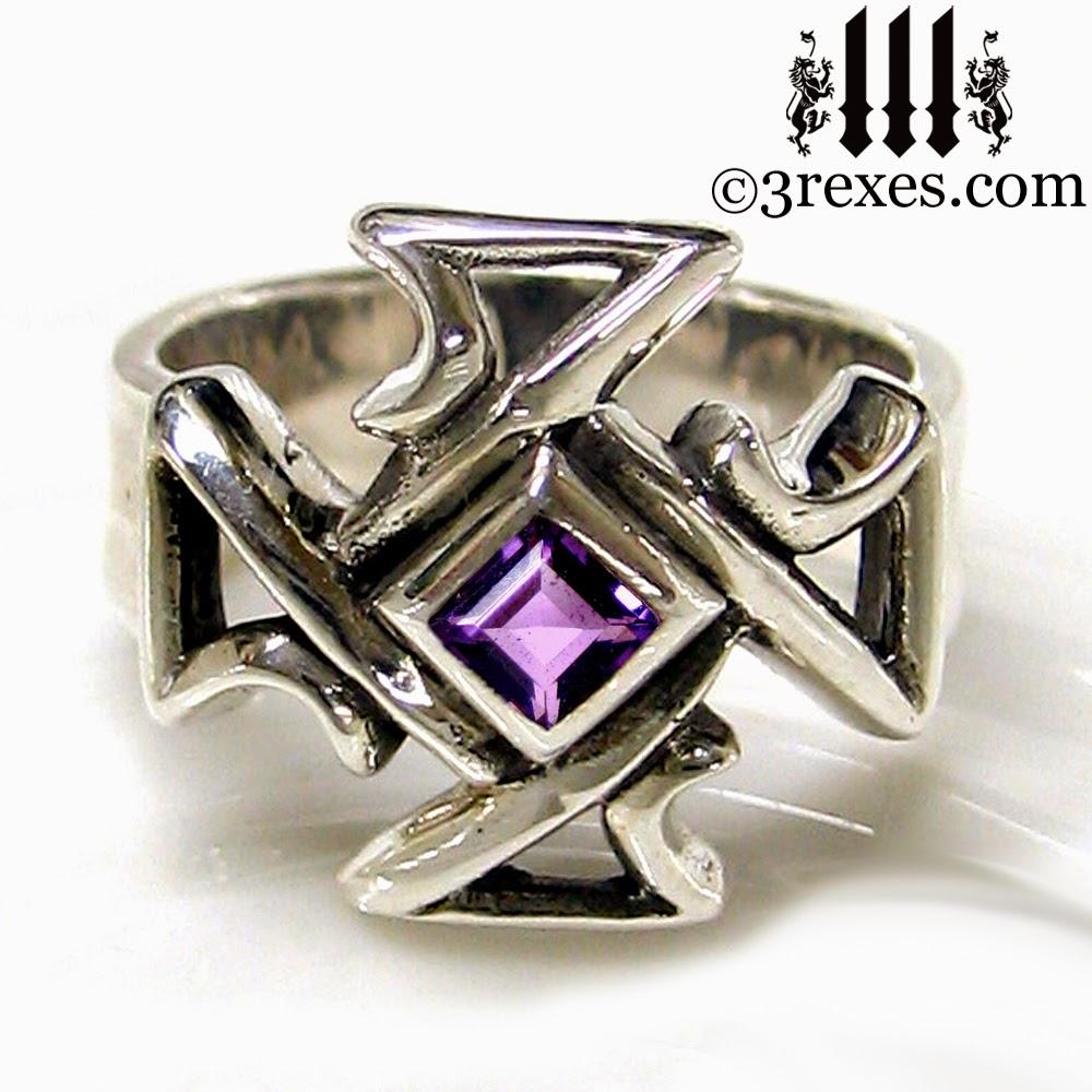 Mens silver Celtic Cross Gothic Ring purple amethyst stone
