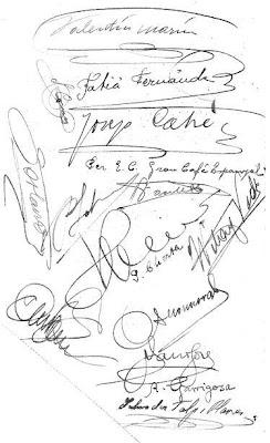 Firmas de los asistentes a la cena de homenaje a Ángel Ribera y Pedro Cherta