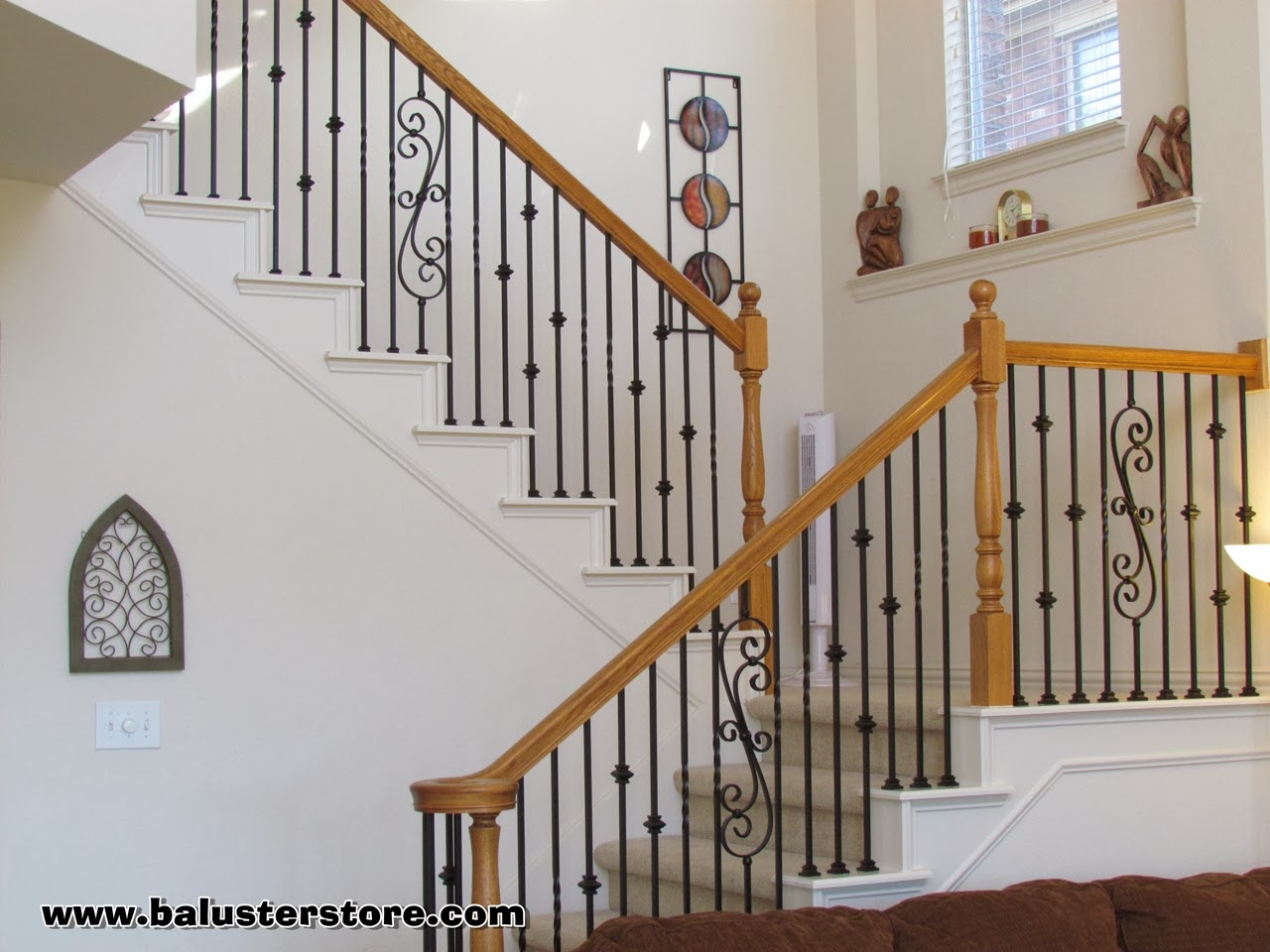 High quality powder coated iron balusters for Garde corps interieur escalier