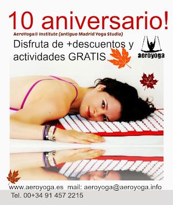 AeroYoga® Institute (Madrid Yoga Studio) cumple 10 años!. Desde hace 10 años Rafael Martinez y su equipo están COMPARTIENDO  grandes experiencias con sus alumnos regulares y profesionales, es hora de celebrar una nueva etapa y queremos hacerlo contigo!.