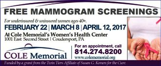 2-22 Free Mamogram Screening