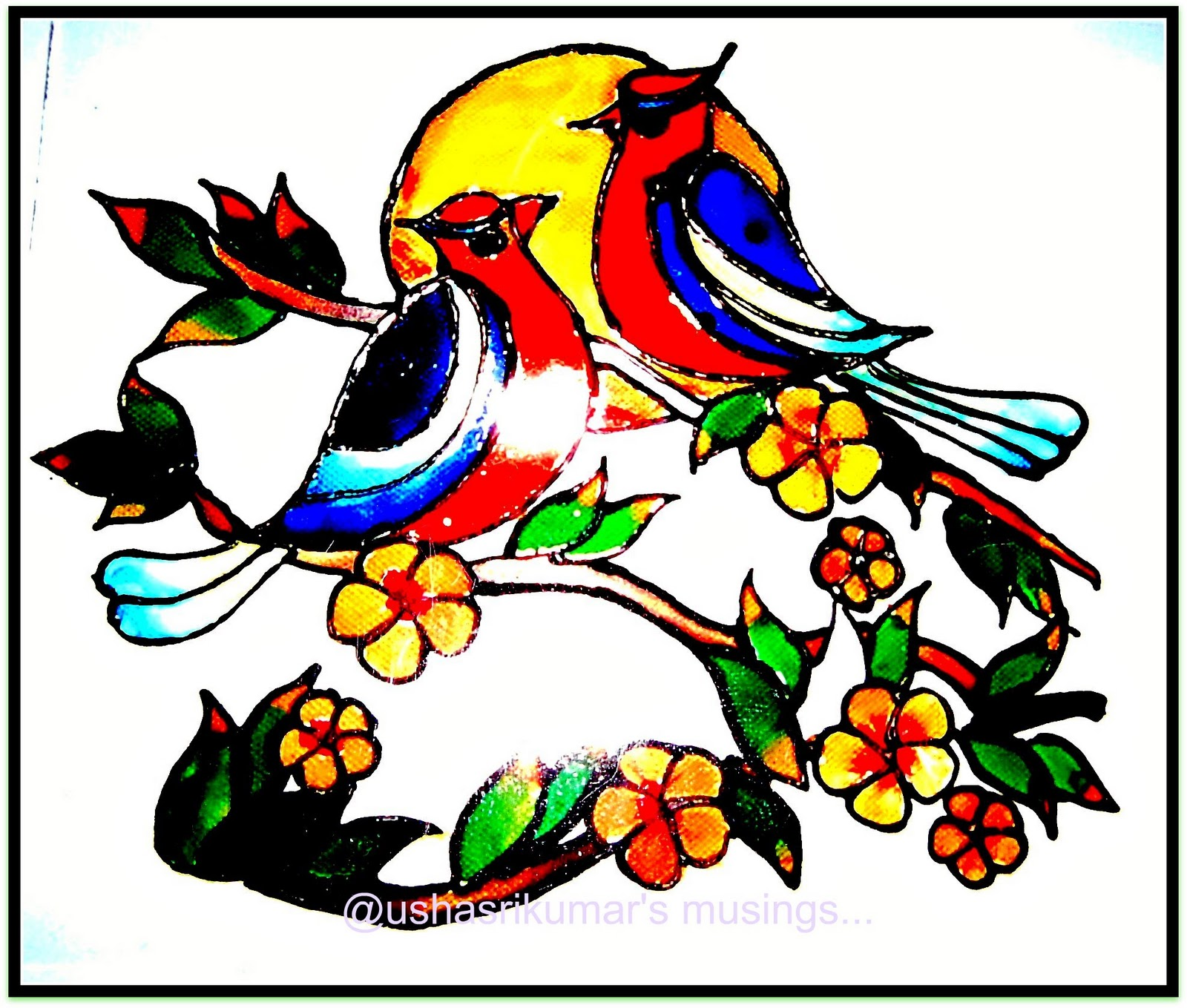 Stained Glass Painting Love Birds