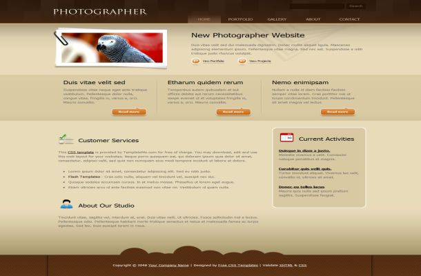 Free CSS Photographer Brown HTML Website Template