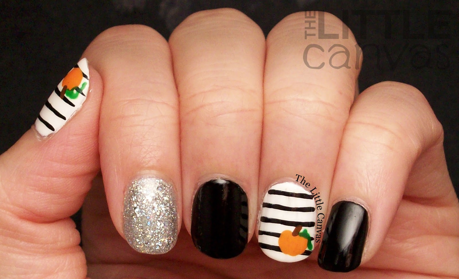 Little itty bitty pumpkin nail art the little canvas lets take a look prinsesfo Choice Image