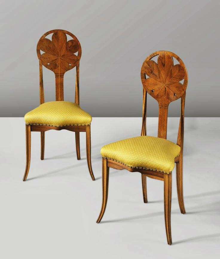 Louis Majorelle Marquetry Chestnut chairs.