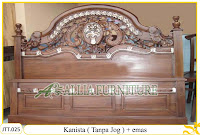 Tempat tidur ukiran kayu jati Kanista tanpa Jog dengan paduan emas