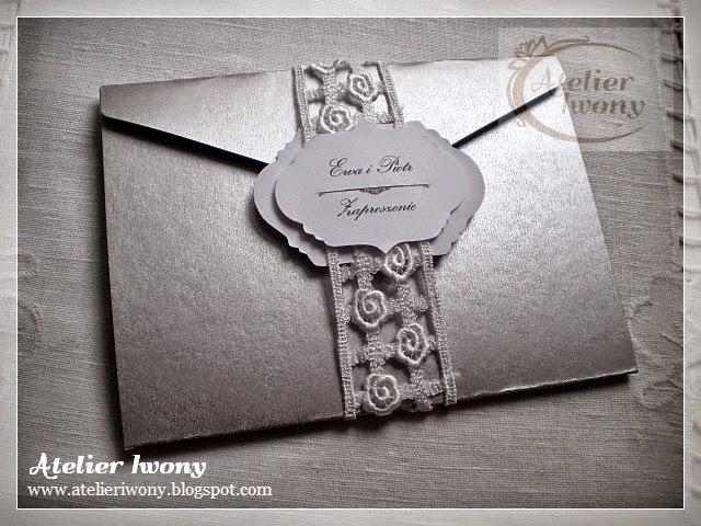 silver envelope, zaproszenie w srebrnej kopercie, une enveloppe d'argent, handmade wedding invitation silver, ręcznie robione srebrne zaproszenie, zaproszenie w kolorze srebra