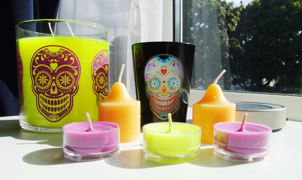 party lite halloween candles hocus pocus sugar skull dia de los muertos