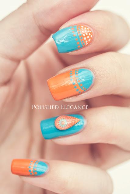Blue orange 3D nail art dots manicure