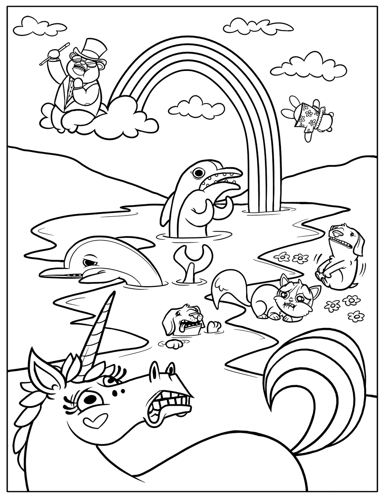 Dashing image pertaining to rainbow coloring page printable