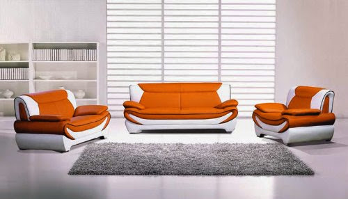 Modern Orange Leather Couch Loveseat Sets
