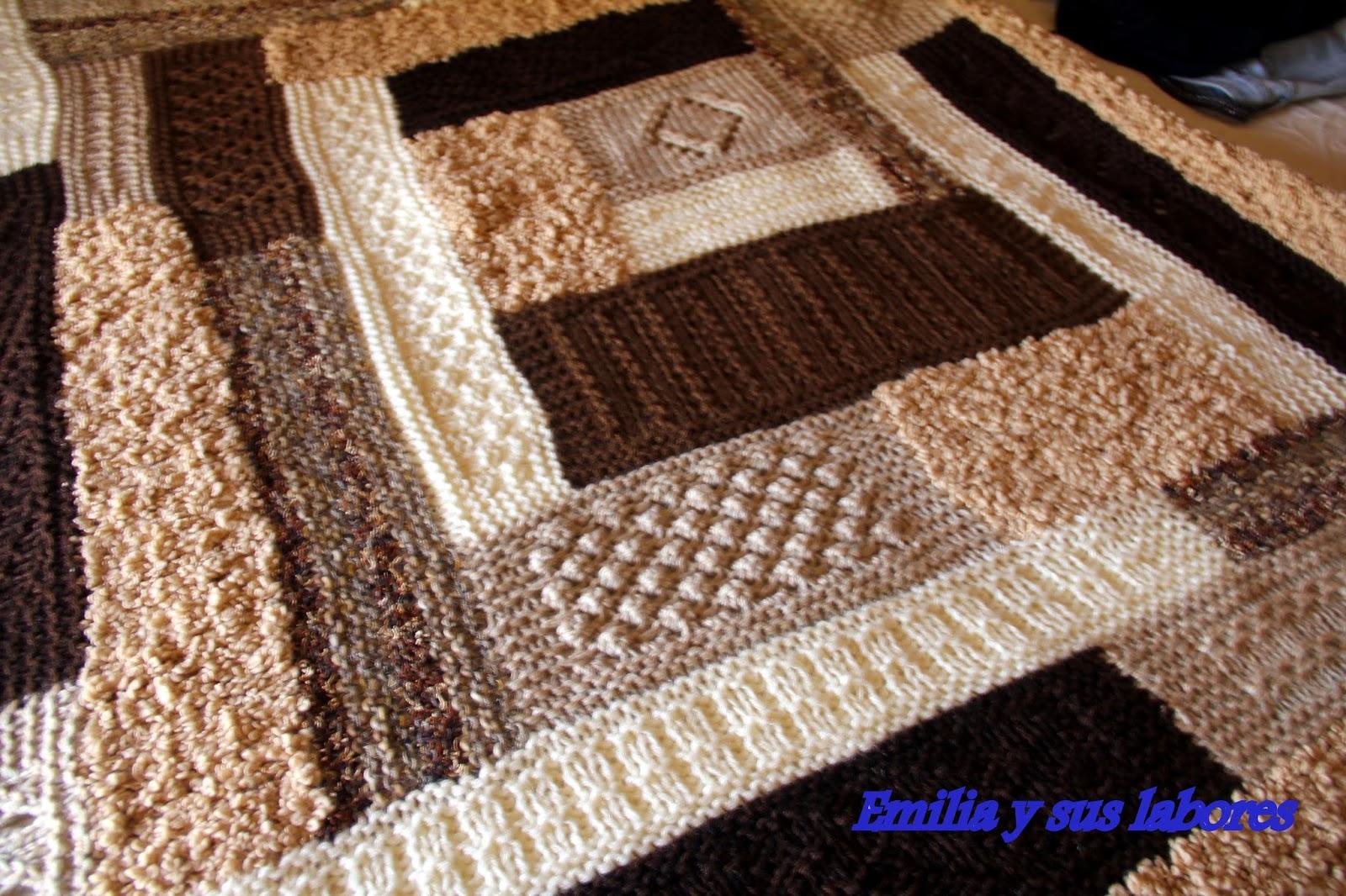 emilia y sus labores manta de lana a punto de media