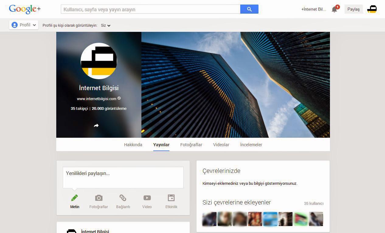 Google Plus Profil Sayfası