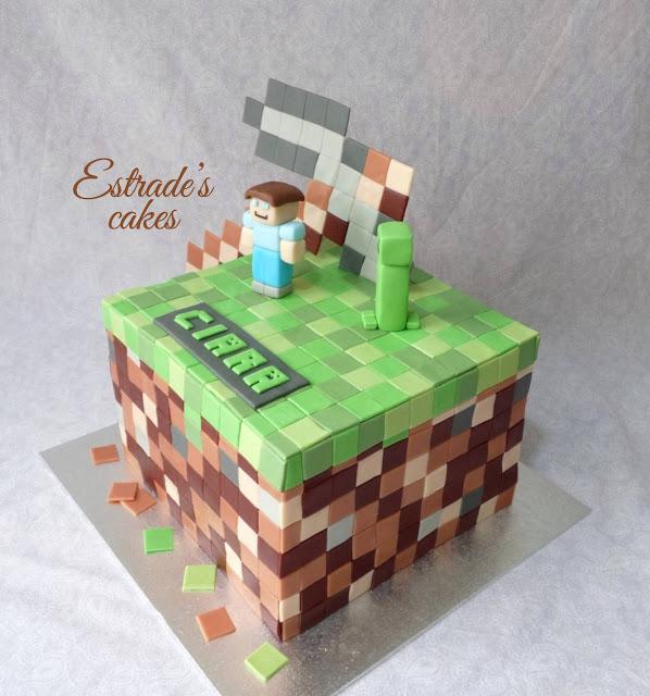 tarta Minecraft con fondant 3
