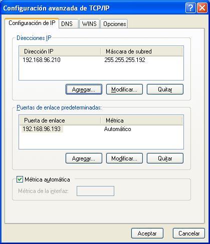 Configuracion avanzada de TCP/IP