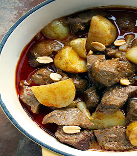 Thai Massaman curry of beef and potatoes in a lightly-spiced massaman curry spice base