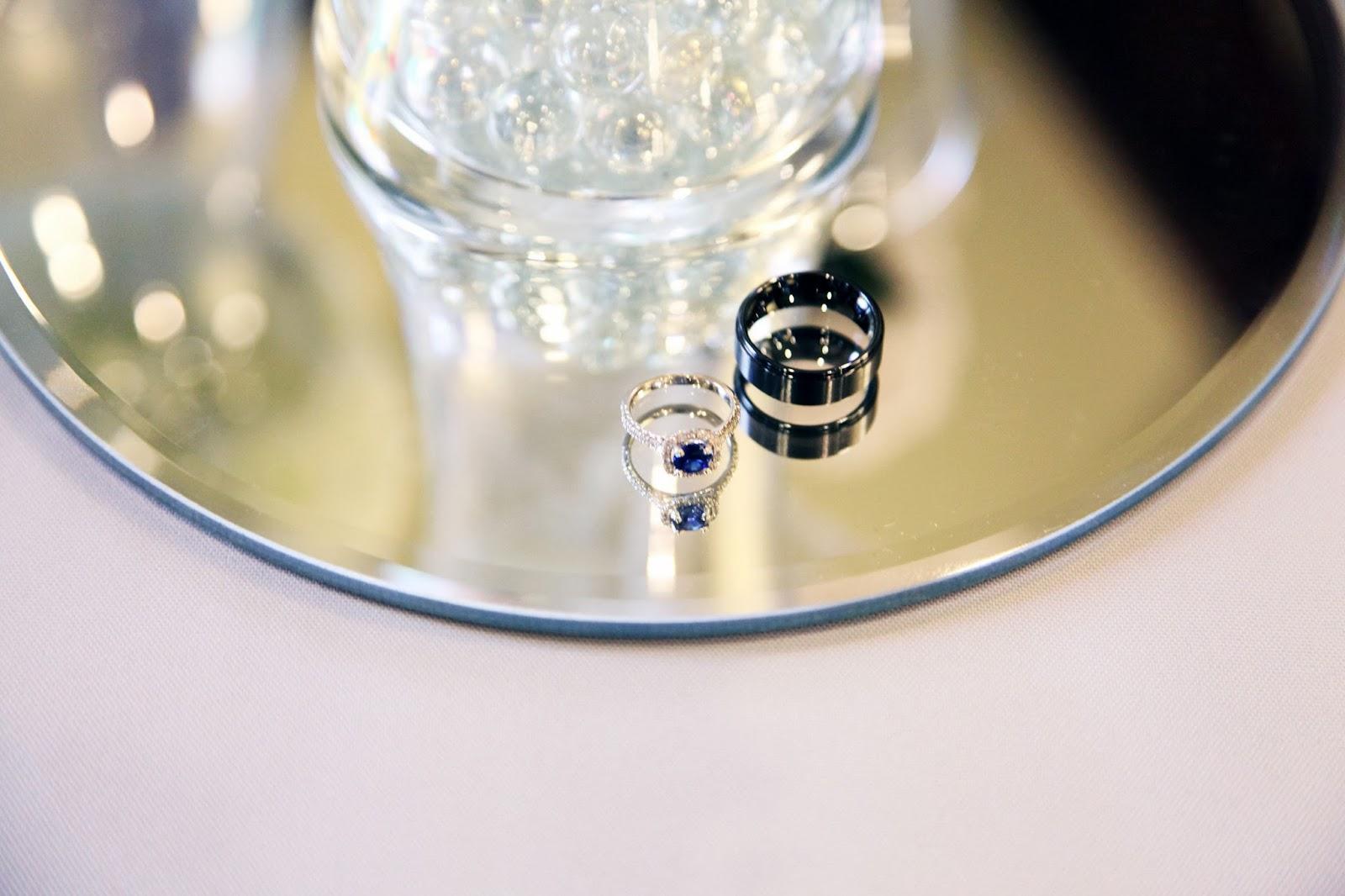 Wedding Rings, Black Ceramic wedding band, Sapphire and Diamond wedding ring