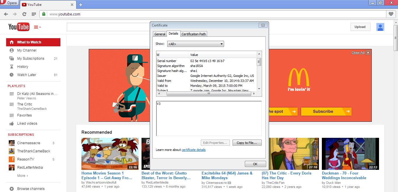 Youtube, Josh Wieder, SSL Certificate