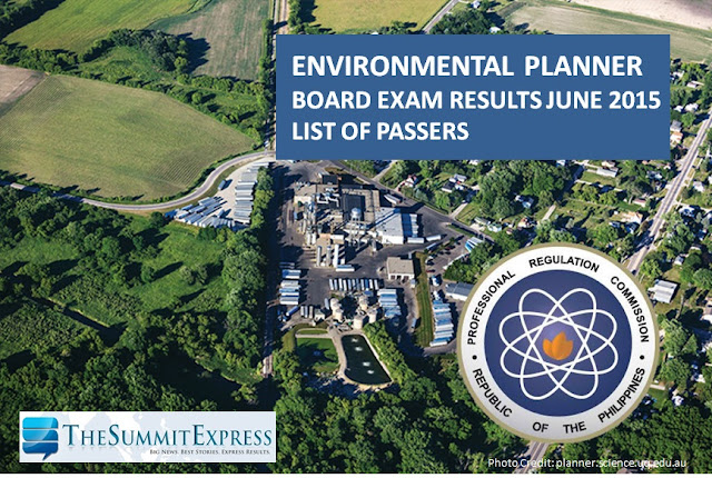 June 2015 Environmental Planner board exam results