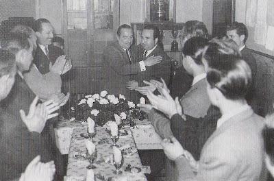 Homenaje a Agustín Pujol el 11 de abril de 1953 en la sede del Club Ajedrez Tarragona