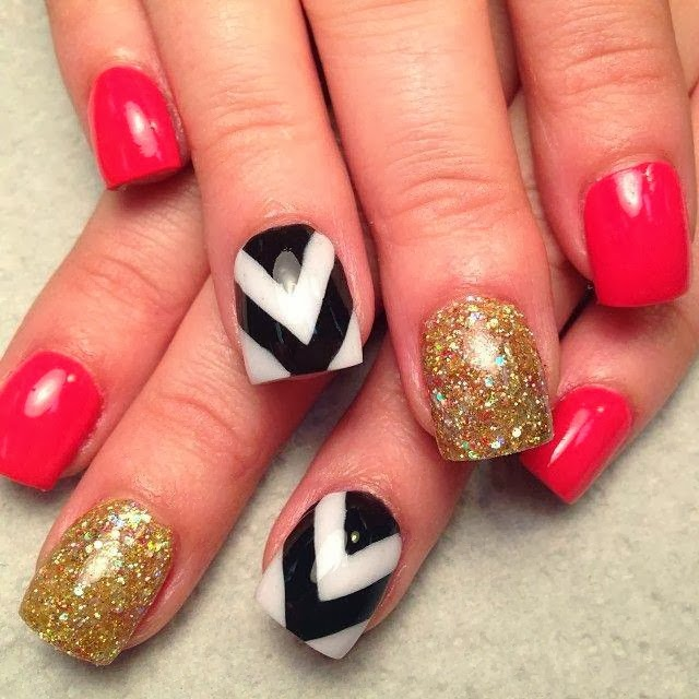 Acrylic backfill then Gelish manicure Ombre red, holo gold and classic blackwhite chevron LED-polish-manicure-OPI-Nail-Polish-Lacquer-Pedicure-care-natural-healthcare-Gel-Nail-Polish-beauty-Acrylic-Nails-Nail-Art-USA-UK2