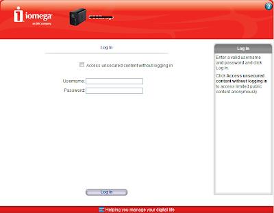 iomega storcenter login page