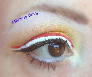 eye makeup yellow and triple eyeliner