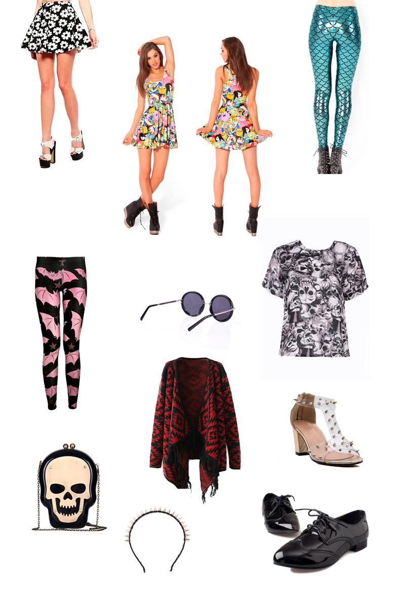 wishlist roupas e acessórios alternativos
