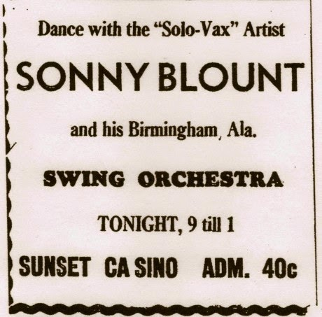 "ADVERTISEMENT FOR SONNY BLOUNT AND HIS ""SOLO-VAX"" (SIC), ATLANTA DAILY WORLD, AUGUST 1, 1941"