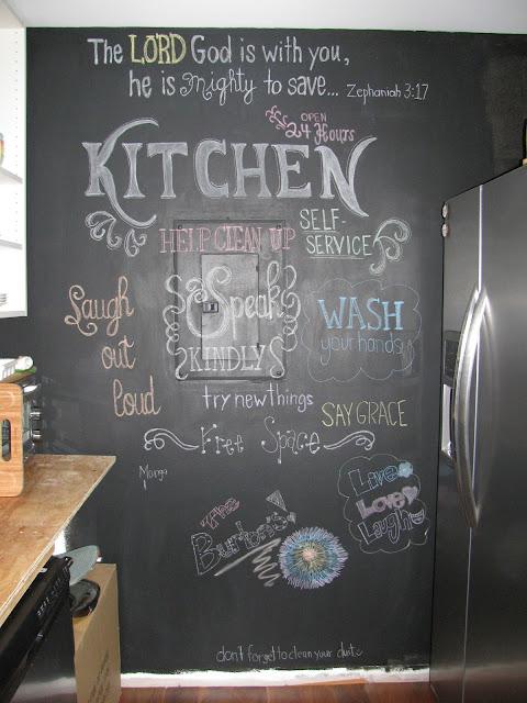 trashed condo transformation a diy kitchen chalkboard wall. Black Bedroom Furniture Sets. Home Design Ideas