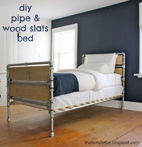 diy wood and pipe industrial bed