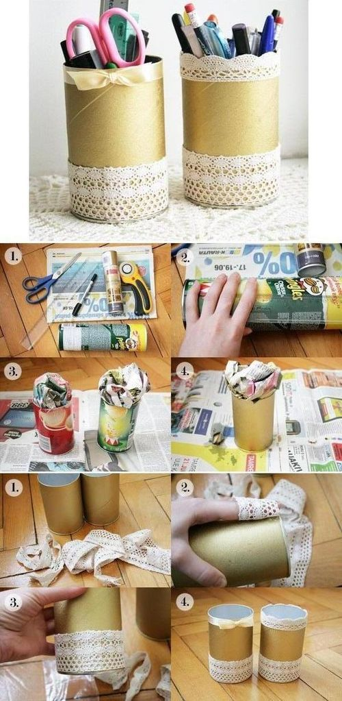 DIY Lace Pencil Holder