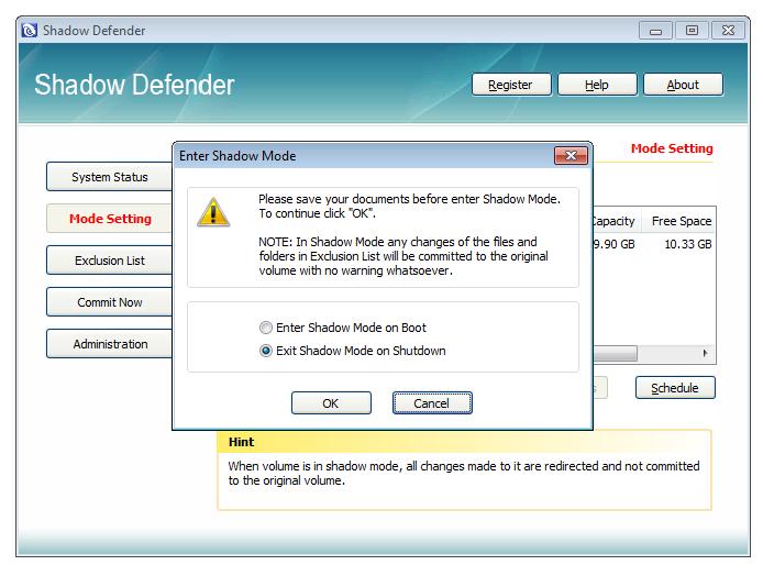 برنامج Shadow Defender وداعا للهجمات وتأثير الفيروسات بمجرد اعادة تشغيل الجهاز