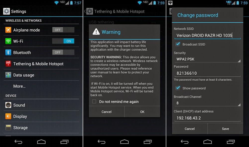Configuración de la función de hotspot en un equipo Android