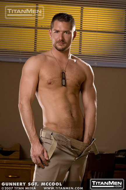 Hot hairy muscle hunk Andrew Justice in Gunnery Sgt. McCool forTitan Men