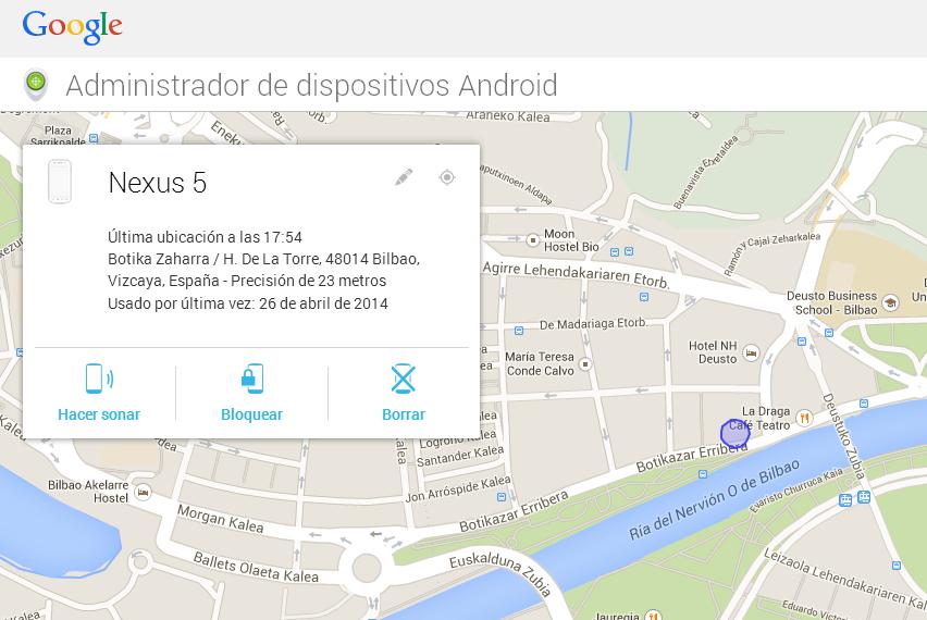 Mapa del Administrador de dispositivos Android