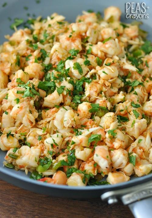 Crab and Shrimp Zucchini Enchiladas with Mango-Jalapeno Salsa