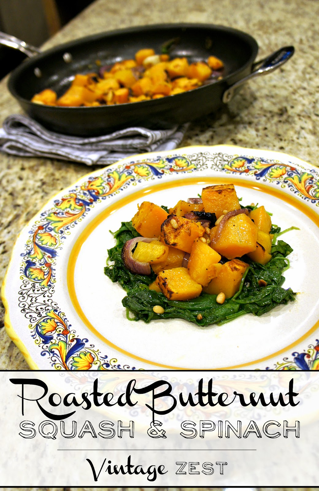 Roasted Butternut Squash & Spinach on Diane's Vintage Zest!  #recipe #healthy #vegetarian #vegan