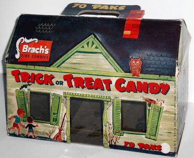 Trick of treat candy box design for 70 paks of candy in haunted house carry-case design. Owl watches from the roof.