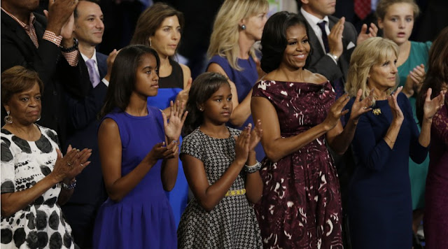 Michelle Obama's mother Marian, Malia and Sasha Obama, their mother Michelle and Dr. Jill Biden, wife of Vice President Biden, listen to President Barack Obama at the Democratic National Convention