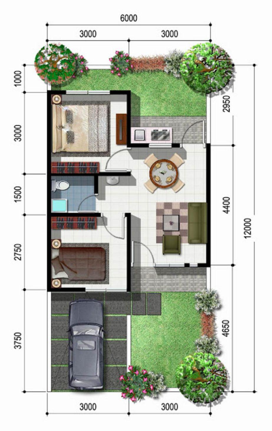 desain denah rumah type45 tampak atas yang bagus