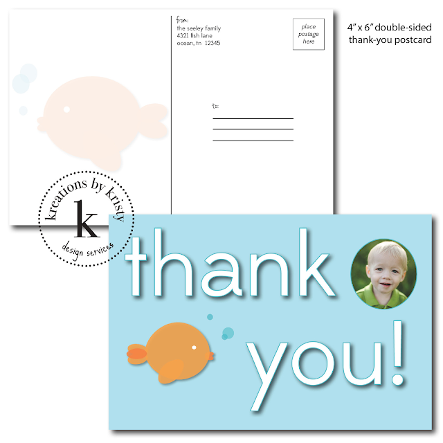 Fish-themed double-sided birthday party thank-you postcard | kreations by kristy