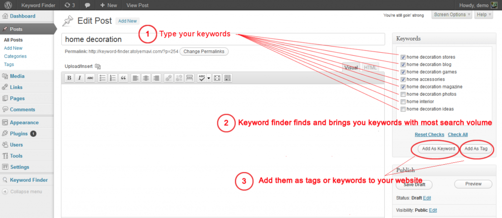 keyword finder wordpress