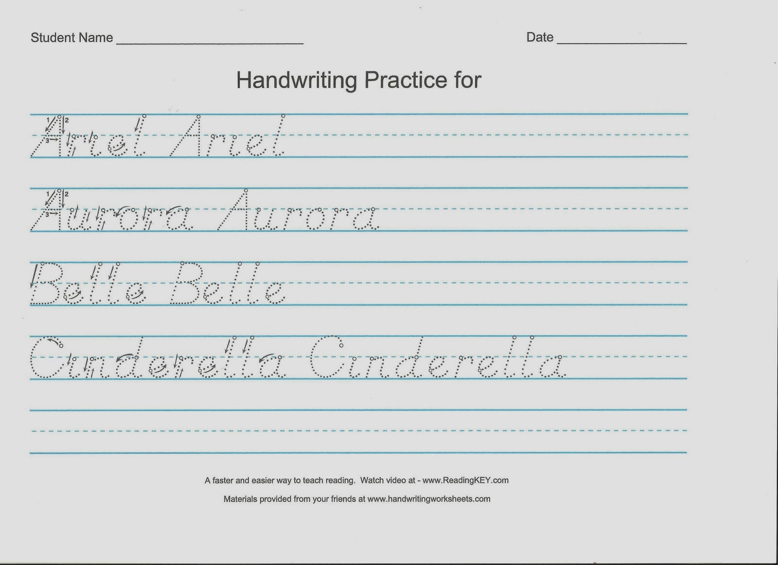 ... handwriting worksheets. ( see a print sample or see a cursive sample