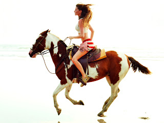 Model on Horse Running Seaside HD Wallpaper