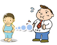 cartoon of an overweight boy growing up to be a man with a large belly.