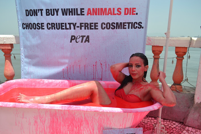 rozlyn khan bathes in blood for peta actress pics
