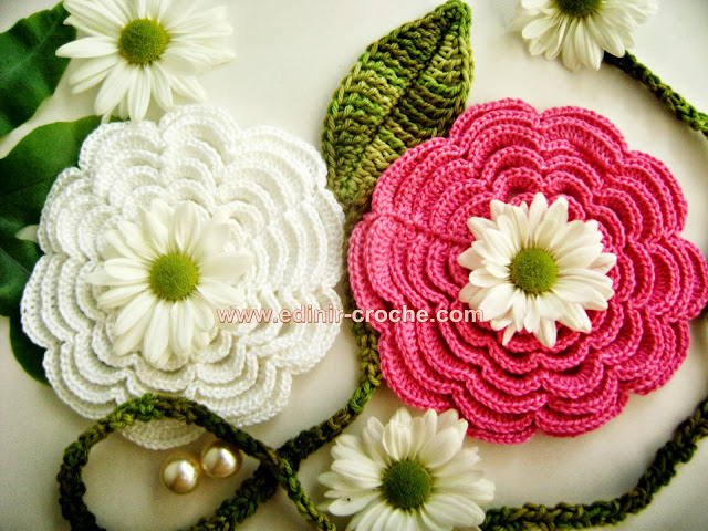 flores em croche camélia da coleção aprendi e ensinei com edinir-croche