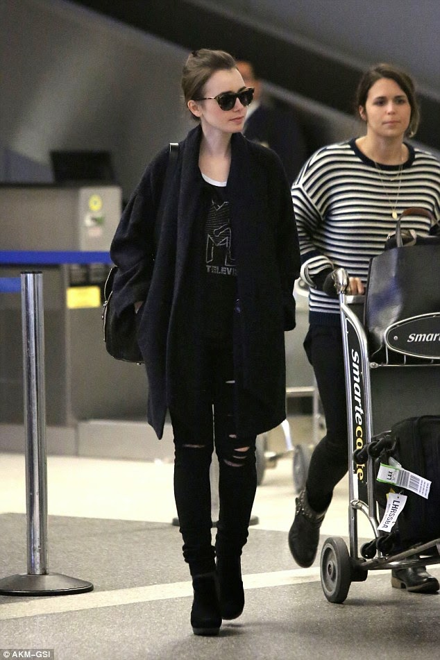 Lily Collins Wearing MTV Logo T-Shirt