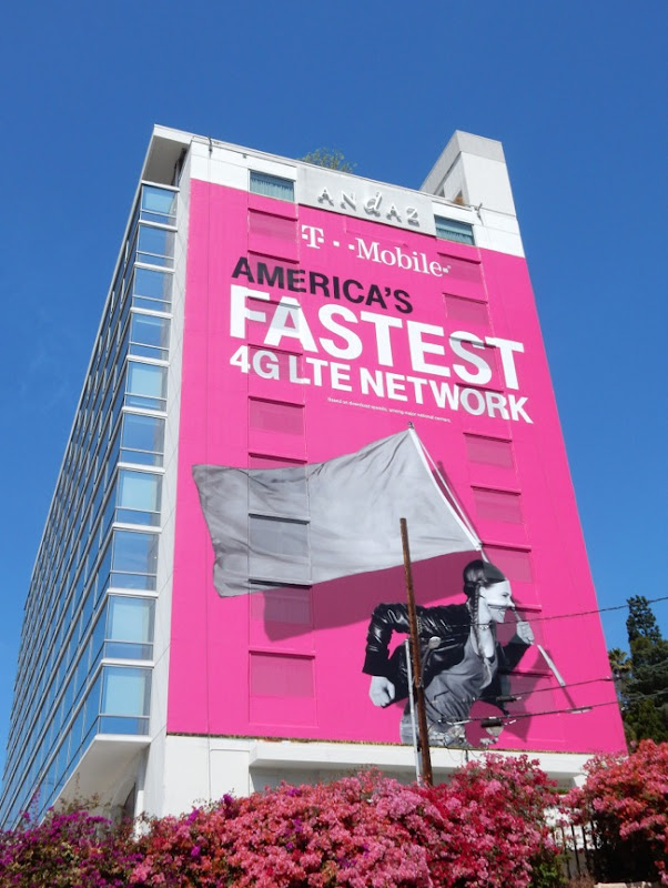 Giant TMobile fastest Network flag billboard